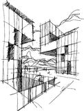 Architectural sketch of a modern abstract architecture Royalty Free Stock Photo