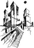 Architectural sketch of a modern abstract architecture. Hand drawn architectural sketch of a modern abstract architecture with steep stairs Stock Photo