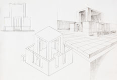 Architectural sketch of modern box house Royalty Free Stock Images