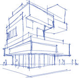 Architectural sketch of a modern building Stock Photography