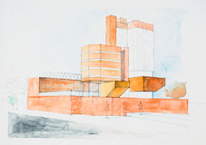 Architectural sketch of modern building Stock Photos