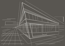 Architectural sketch modern corner building on gray background. Linear architectural sketch of modern corner building on gray background Stock Photography
