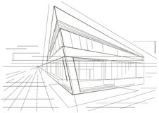 Architectural sketch of modern corner building. Linear architectural sketch of modern corner building Stock Image