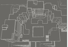 Architectural sketch of multi-story building top view gray background Stock Photography