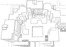 Architectural sketch of multi story building top view Stock Image