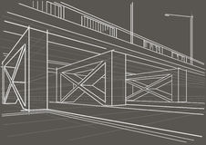 Architectural sketch overhead road on gray background Royalty Free Stock Photo