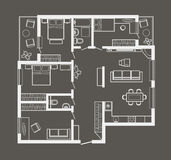 Architectural sketch plan of four bedroom apartment on gray background Royalty Free Stock Images