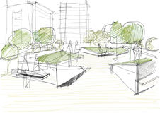 Architectural Sketch Of Public Park vector illustration