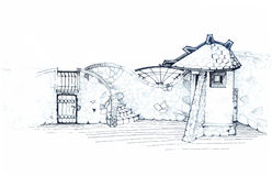 Architectural sketch of the residential area of improvement Stock Photos