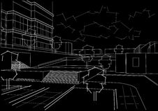 Architectural sketch residential quarter on black background. Linear architectural sketch residential quarter on black background Stock Photo