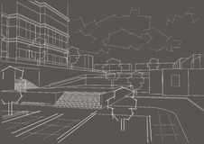 Architectural sketch residential quarter on gray background. Linear architectural sketch residential quarter on gray background Royalty Free Stock Image