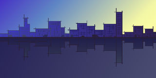Architectural sketch silhouette abstract city skyline. On blue background Stock Photography