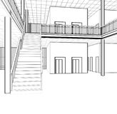 Architectural sketch stairs royalty free stock photo