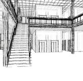 Architectural sketch stairs Stock Photo