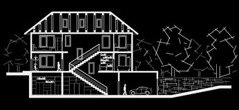 Architectural sketch three level house. Sectional drawing on black background Royalty Free Stock Photography