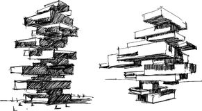 Architectural sketch of two modern abstract buildings. Two hand drawn architectural sketches of a tall modern abstract buildings or residential tower Stock Photo