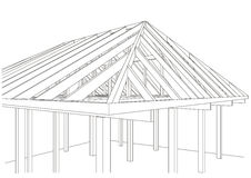 Architectural sketch wood frame house Stock Images