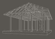 Architectural sketch wood frame perspective on gray background. Linear architectural sketch wood frame perspective on gray background Royalty Free Stock Photos