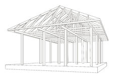 Architectural sketch wood frame perspective Royalty Free Stock Photos