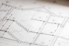 Architectural sketches of new house Royalty Free Stock Photo