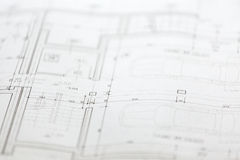 Architectural sketches of new house Stock Photo