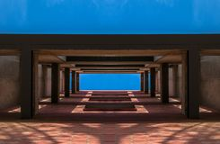 Architectural structure of minimalist building against sky stock photos