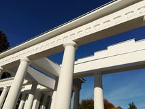 Architectural structure of white columns and slabs stock photography