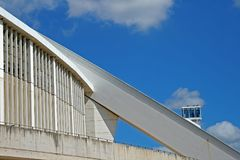 ARCHITECTURAL STRUCTURES OF MOSES MABHIDA STADIUM. View of architectural detail of Moses Mabhida stadium in Durban Kwazulu Natal against blue sky Stock Photo