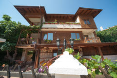 The architectural style of the ancient town of Sozopol in Bulgaria Stock Image