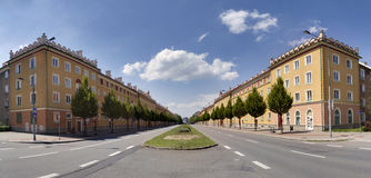 The architectural style Sorela in Havirov, protected monument zone, Czech republic. A view of the main street in Havirov. Sample of architectural style called Royalty Free Stock Photos
