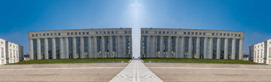 Architectural symmetry on the major axis at Cergy France Stock Image