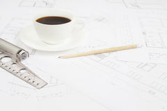 Architectural table. Royalty Free Stock Photos