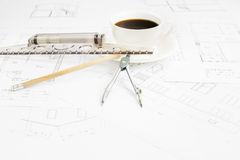 Architectural table. Royalty Free Stock Photography