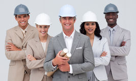 Architectural team smiling at the camera Royalty Free Stock Images