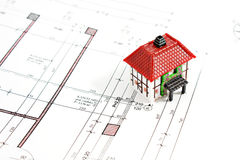 Architectural technical draw project. With house model stock image