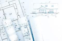Architectural technical drawings with house plan Royalty Free Stock Images