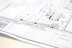 Architectural technical project drawing plan Stock Photography