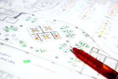 Architectural technical project drawing plan Stock Photo