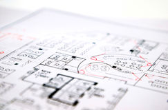 Architectural technical project drawing plan Stock Image