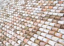 Architectural theme. Weathered roof tile background, Italian roof. Royalty Free Stock Image