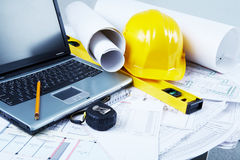 Architectural tools. Image of laptop, architectural tools and blueprints Stock Photography