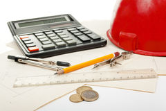 Architectural tools and money Stock Photos