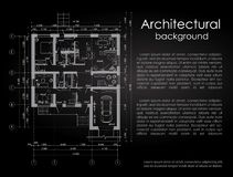 Architectural vector background. White drawing on a black background. Brochure. Drawing of a house. Disposition of the. House. Banner with space for writing in Stock Image
