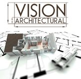 Architectural vision with project of house on blueprints Stock Photo