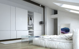 Architectural White Bedroom with Wall Cabinets Stock Photography