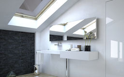 Architectural White Sink and Mirror on a Wall Stock Image