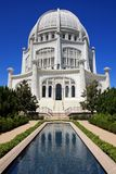 Architectural Wonder, with reflecting pool. The Bahai Temple, House of Worship in Wilmette, IL Royalty Free Stock Photography