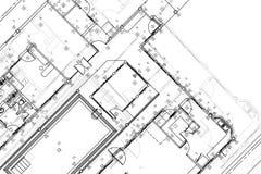 Architecturale achtergrond, architecturaal plan, bouwtekening Royalty-vrije Stock Foto