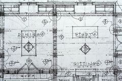 Architecturale Blauwdruk Stock Afbeeldingen