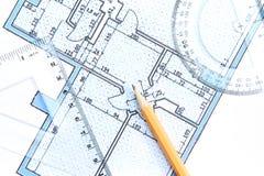 Architecturale blauwdruk Stock Afbeelding